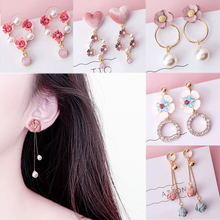 1Pair Pink Simple Long Tassel Korean Fabric Flower Crystal Drop Earring Cute Dissymmetry Fashion Jewelry Pearl
