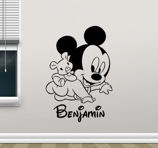 New Arrival Free Shipping Mickey Mouse Wall Decal Custom Name Cartoons  Vinyl Sticker Kids Wall Art