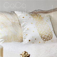 Cocostyles InsFashion gorgeous handmade silk cushion with gold pineapple pattern for modern european style home decor