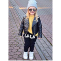 2016 Fashion Baby Kids Girls Motorcycle Biker Short Jacket Lapel PU Long Sleeve Leather High-quality Coat Outerwear
