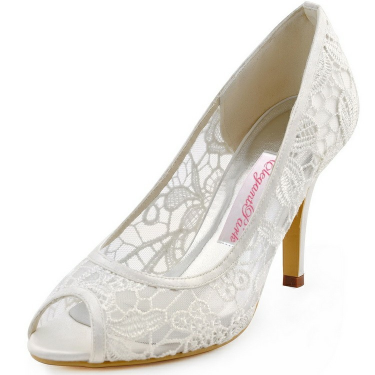 Fast shipping Women High Heel pumps HP1400 Peep toe Ivory Lace Ladies Bride Bridesmaids Wedding Bridal shoes hp1544i white ivory peep toe women wedding pumps ankle strap crystal buckle bride bridesmaids high heel satin bridal prom shoes