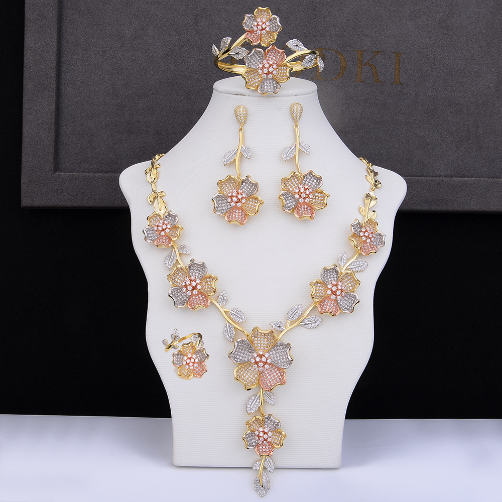 GODKI Luxury Flower Blossom Cubic Zircon CZ Nigerian Jewelry set For Women Wedding Dubai African Bridal