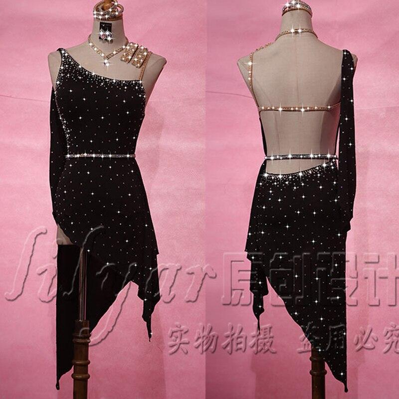 2019 Latin Dance Dress For Women Full Rhinestone Dress Black Salsa Dress Backless Falda Flecos Competition Latin Dresses VDB160