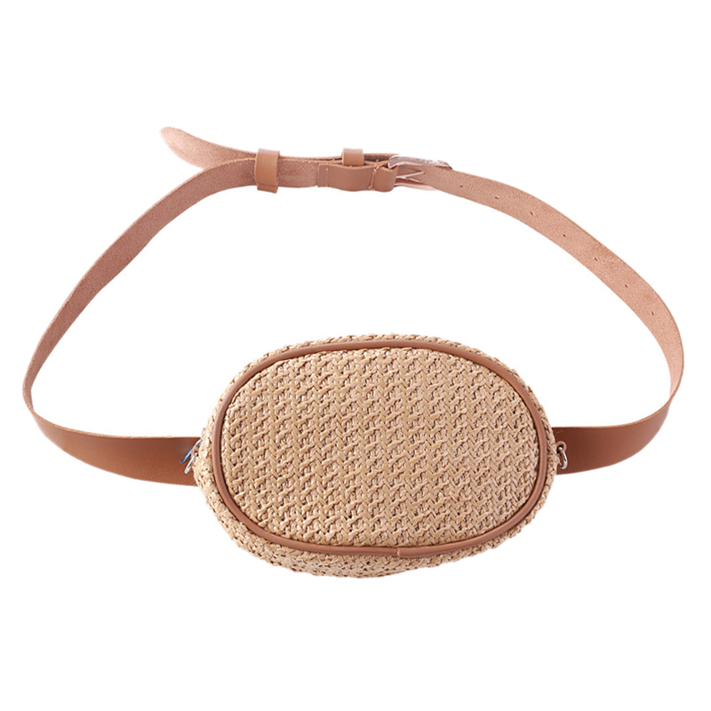 ABDB-Straw Women Waist Pack Bag Belt Female Handmade Rattan Oval Design Summer Beach Bags Travel Fanny Pack Girl Chest Pack Pu