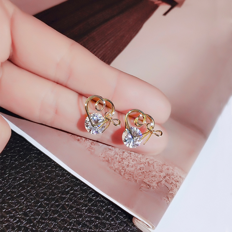 gold color stud earrings with zircon stone (7)