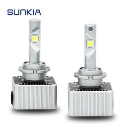 SUNKIA 2 unids/set bombilla LED COCHE faros D1S D2S D3S D4S D5S lámpara 70W 7200Lm bulbo Original Plug & Play blanco 6000K IP67