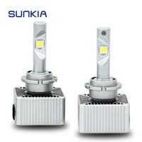 SUNKIA 2Pcs/Set LED Bulb Best Car Headlight D1S D2S D3S D4S D5S Lamp 70W 7200Lm Original Bulb Plug Play White 6000K IP67