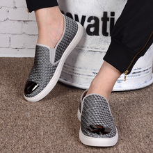Summer Fashion Breathable Stretch Cloth Weaved Male Casual Shoes Metal Round Toe Elastic Band Flat With Rubber Sole Men Shoes