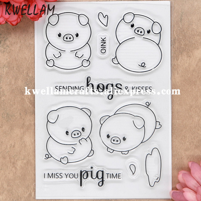 pig scrapbook diy photo cards rubber stamp clear stamps transparent