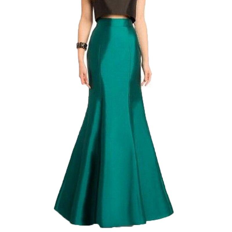 Vintage 2017 Long Green Mermaid Skirts For Women High End Custom Made Female Floor Length Skirt
