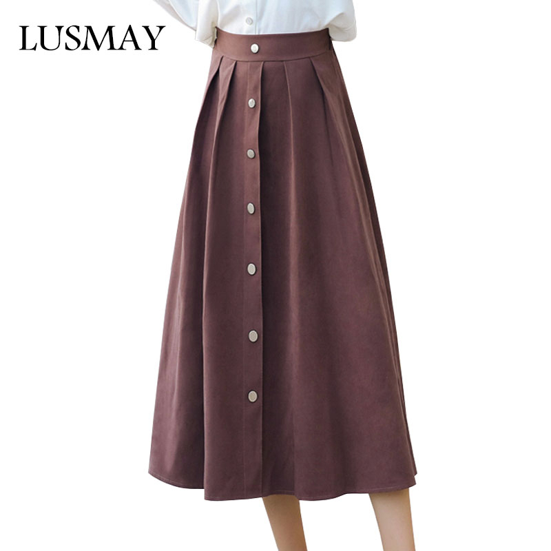 Aliexpress.com  Buy Leather Suede Long Skirt Women Fashion 2018 Spring Elastic High Waist ...