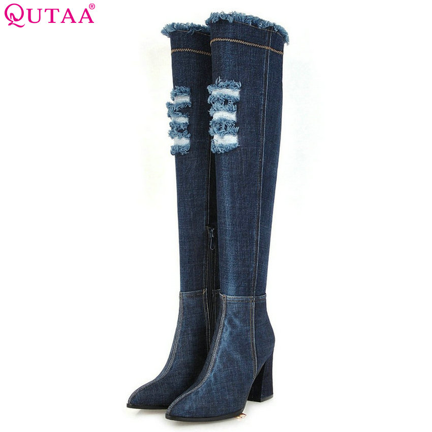 QUTAA 2019 Women Over The Knee High Boots Denim Fashion Women Shoes Platform Winter Shoes Women Motorcycle Boots Big Size 34-43 memunia over the knee boots fashion punk motorcycle boots for women platform shoes woman height increasing big size 34 43