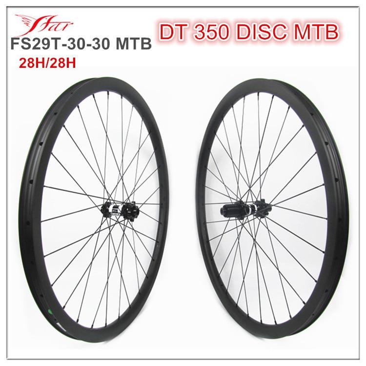 XC vtt roues 30mm x 30mm pneu jantes, 29er tubeless et sans crochet vélo de montagne roues, 6 boulons disque 12mm à travers l'essieu