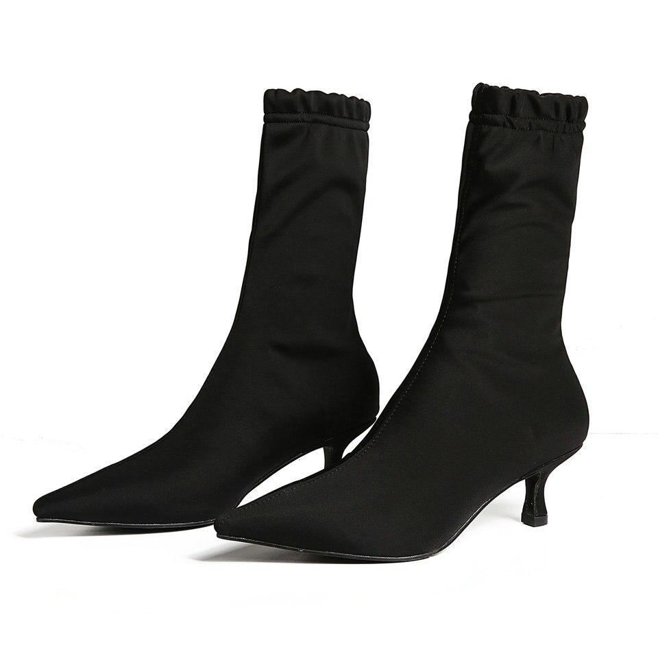 40 Tejido Deslizamiento Negro Señoras Tacón Tamaño Calcetín Primavera Elástico 33 Mujer Pantorrilla Bajo Las Puntiagudo Mediados En Zapatos De Botas Eshtonshero vA4HC