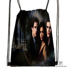 Custom the vampire diaries Drawstring Backpack Bag Cute Daypack Kids Satchel (Black Back) 31x40cm#2018611-2(22)