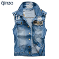Men's casual camouflage patch design denim vest Male fashion slim holes ripped coat Tank top Free shipping
