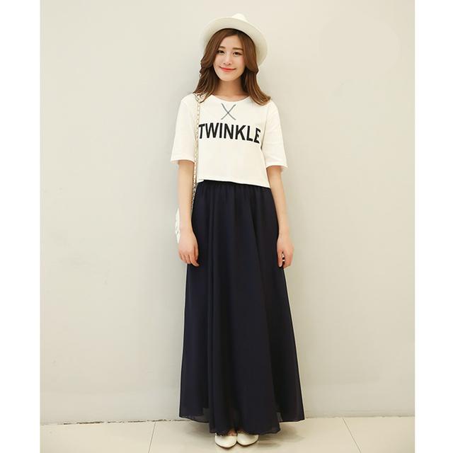 Long Skirt Elegant Style Women Pastel