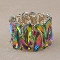 Verde AB Crystal Bangle pulsera para la mujer hombre elástico pulsera de hilo mano del rhinestone joyería del partido espectáculo de pulsera accesorios de La Joyería