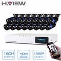 16CH CCTV DVR System AHD DVR 16CH 1080P 2.0 Megapixels Enhanced IR Security Camera with 2 Array LED Security System