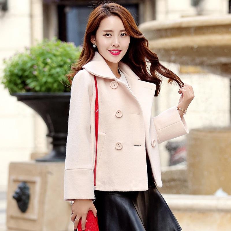 Tcyeek green Outwear Et Yyj356 D'hiver Laine rhodo Court Beige Col Rouge Plus De 2xl Taille Femmes Double Automne Manteau Slim La Vestes Breasted red BAfwB