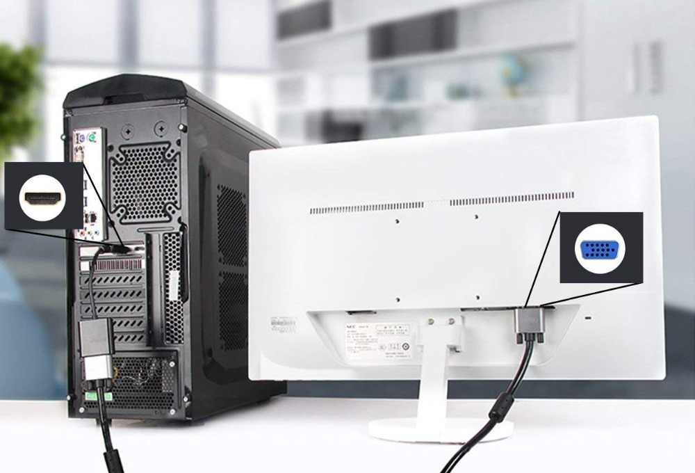 500 sztuk/partia aktywny HDMI do adapter VGA pozłacane 1080 P, cyfrowy na analogowy konwerter męski na żeński kabel wideo Plug And Play