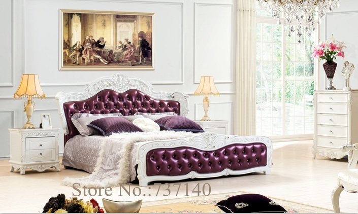 solid wood and leather bed bedroom furniture Baroque Bedroom Set ...