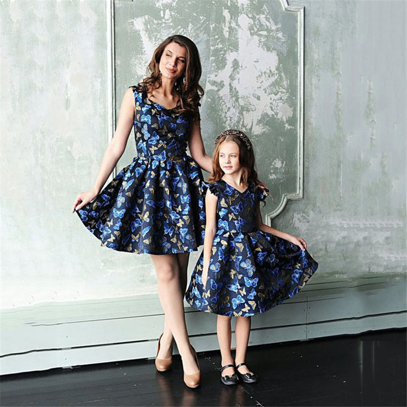 Mother-daughter-dresses-Family-Matching-Clothes-Women-Kids-Girl-Formal-Cute-Party-Princess-Dress-Elegant-greatful