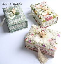 JULY'S SONG 1PC Pastoral Jewelry Organizer Earring Casket Storage Box Container Casket For Jewelry Trinket Storage Case Gift Box