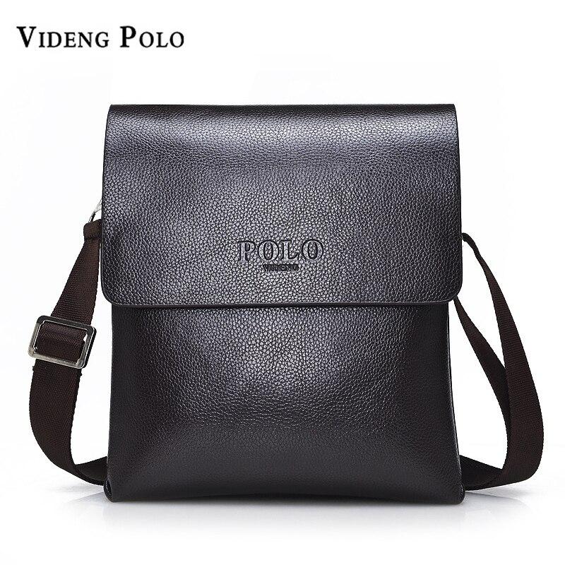 VIDENG POLO Hot Sell Brand Solid Double Pocket Soft Crossbody Bag Leather Men Messenger Bag Small 2 Layer Mens Shoulder Bag