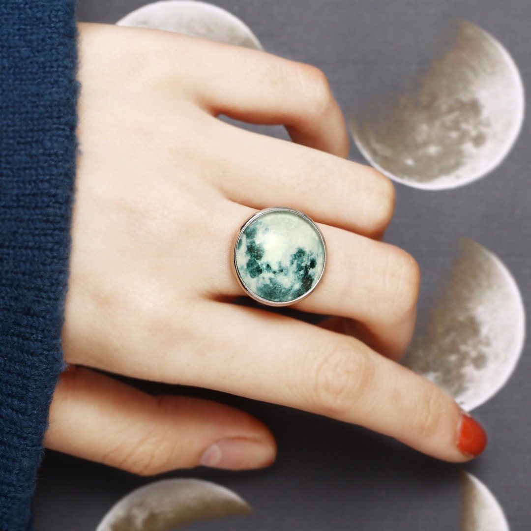 Round Glass Luminous Finger Rings Chic Jewelry Accessories Glow In The Dark Full Moon Open Adjustable Ring shellhard