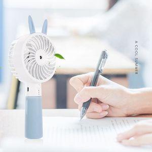 Image 5 - Cute Cat Ear Portable USB Rechargeable Cooler Mini Handy Cooling Fan Desk Pocket Water Mist Cooling Air Humidifier Fan