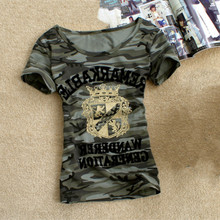 Army Camouflage t shirt Women Crown Print Cotton Stretch T-shirts Military Summer Short Sleeve Plus Size 5Xl 6XL Tee Shirt Tops