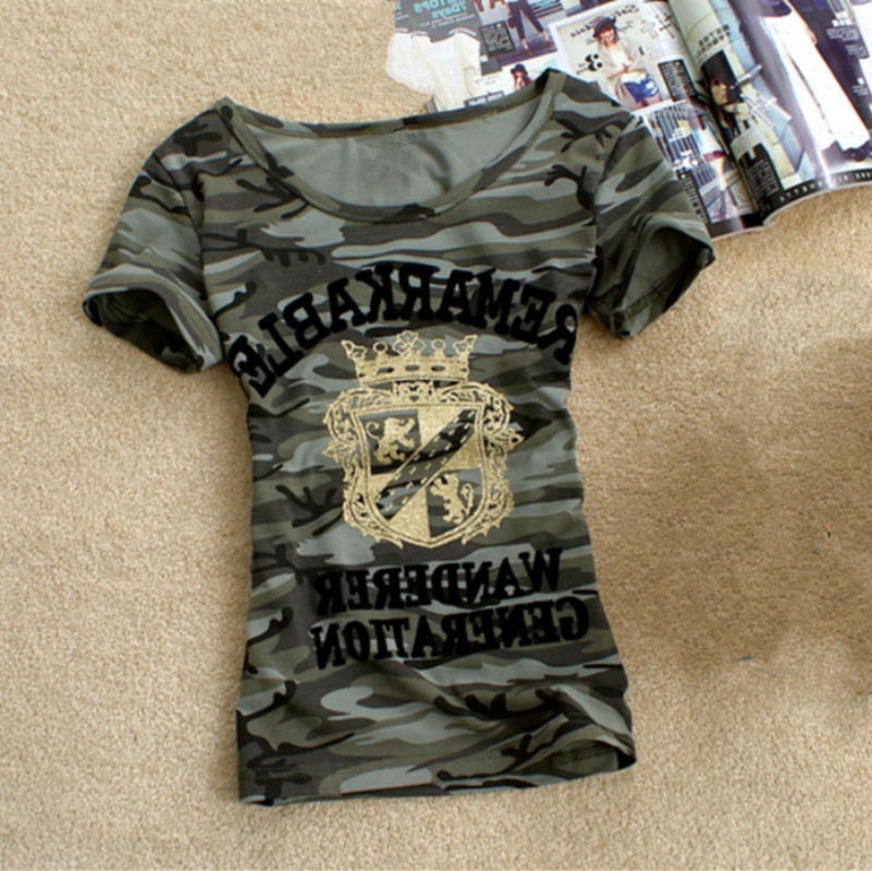 Army Camouflage t shirt Women Crown Print Cotton Stretch T-shirty Military Summer Krótki rękaw Plus Rozmiar 5Xl 6XL Tee Shirt Topy
