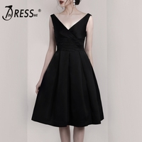 INDRESSME 2019 New V Neckline Sexy Classic Ball Gown Party A line Black Midi Dress Women Refined Waisted