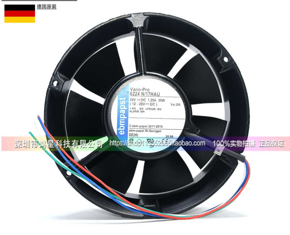Free Shipping For ebmpapst 6224 N / 17HAU 6224N / 4-wire 17HAU DC 24V 1.25A 110mm 172x172x51mm Server Cooling Fan Round цена