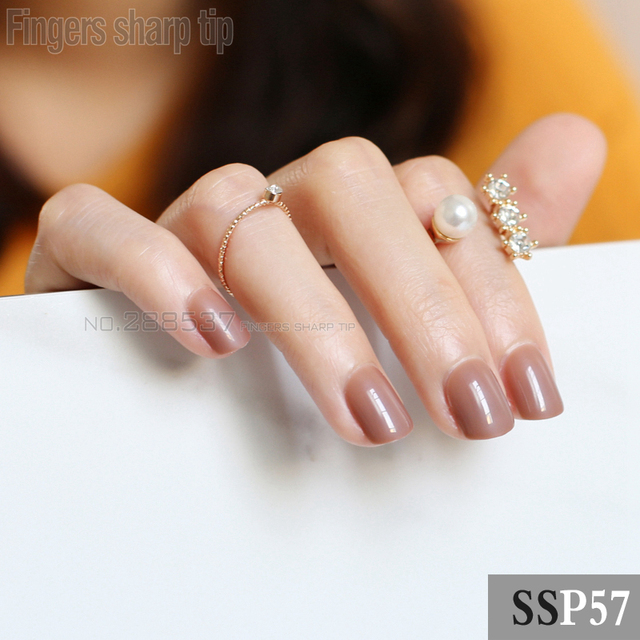 2017 New 24pcs False Nails Brown Candy Grant Short Paragraph Round Square Head Comfortable Multicolor All