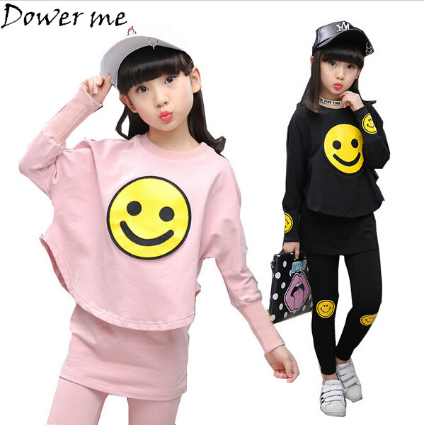 Children Girls Clothing Set Spring Autumn Teenage Girls Sport Suit Cartoon Smiley Faces Chool Kids Tracksuit 4-12T Girls Clothes gold velvet kids boys clothing set thicken sport suit for children teenage girls clothes sets boy korean brand cool tracksuit
