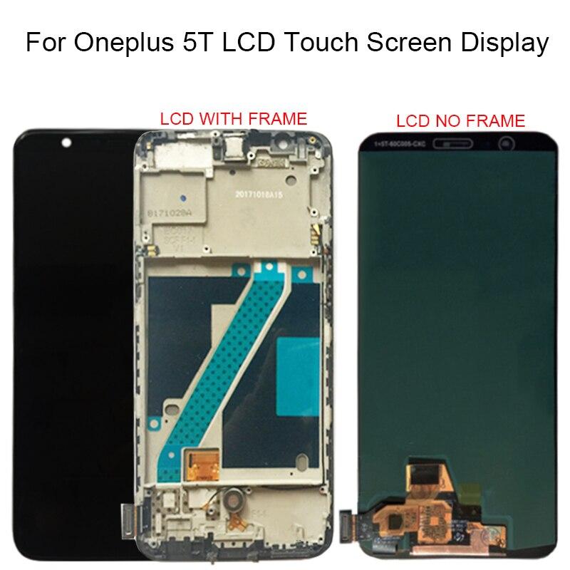 100% testado amoled para oneplus 5 t a5010 display lcd tela de toque digitador assembléia 2160*1080 quadro com frete grátis