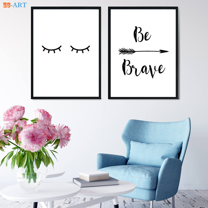 US $4 32 28% OFF|Eyelashes Print Poster Nursery Wall Art Kids Room Black  and White Wall Art Modern Minimalist Canvas Painting Home Decor Framed-in
