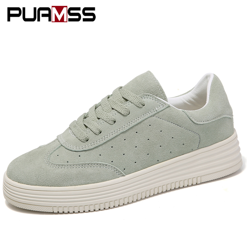 Spring New Women Shoes Flat Platform Casual Shoes Leather Female Fashion Classic White Canvas Shoes Increased Girls Plus Size
