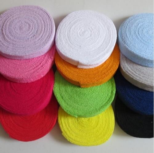 Prix pour 10 M/Bobine Serviette badminton grip, tennis surgrip, poignée de badminton, badminton surgrip coton serviette grip