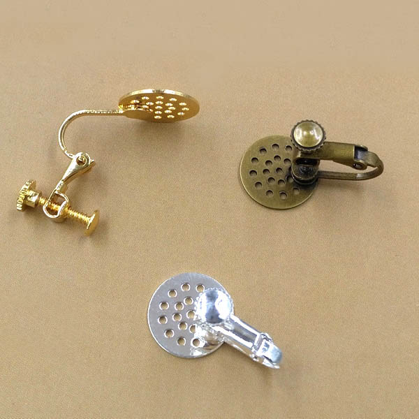 Screw Clip Earring Converter For Non Pierced Ears With 12mm Flat