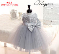 2016 Girl Dress Sequins Pageant Party Baby Kids Clothing Flower Baby Girl Christening Gowns For Princess