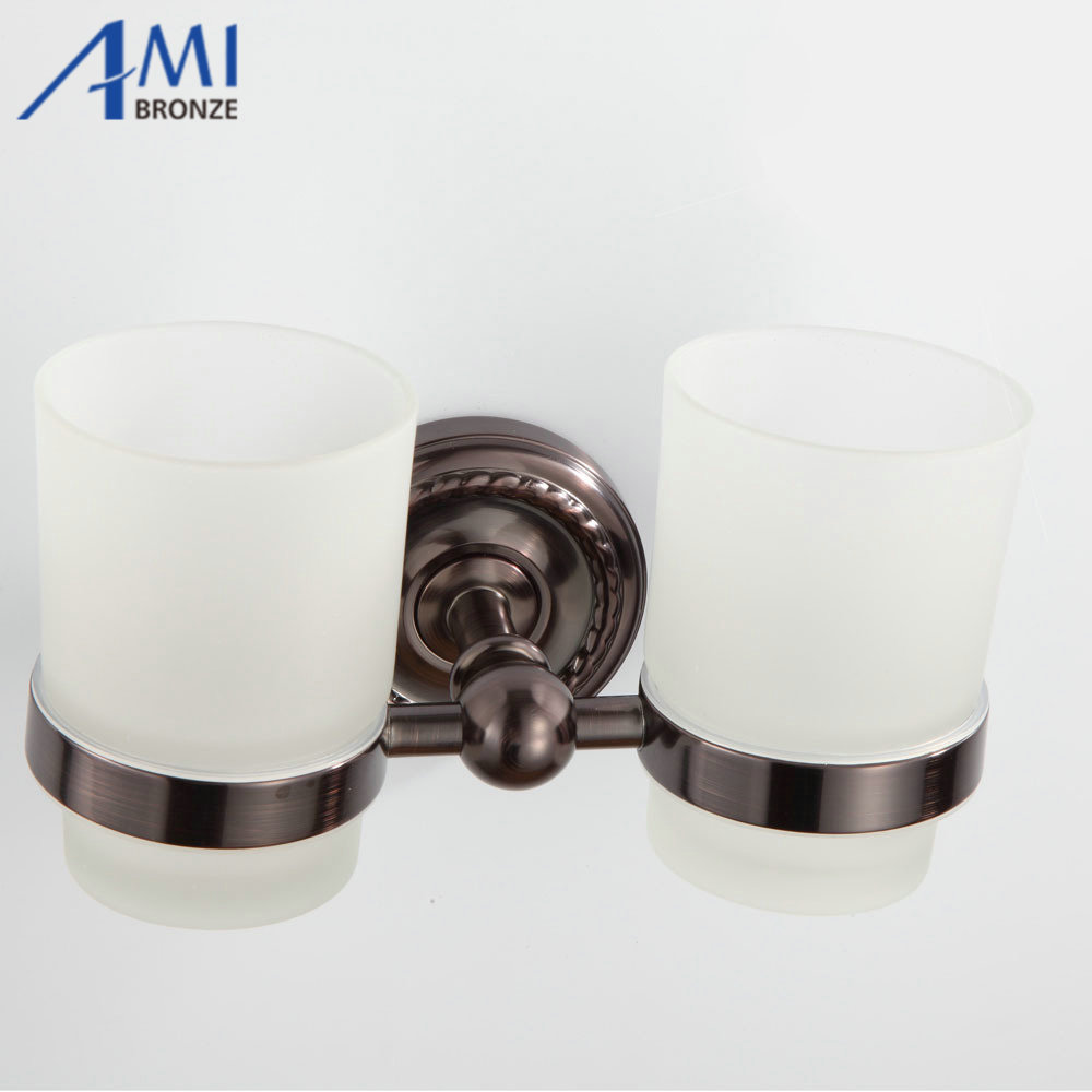 Oil Rubbed Bronze Double Cup Tumbler Holder Toothbrush Cup Holder Wall Mounted Bathroom Accessories 7007O