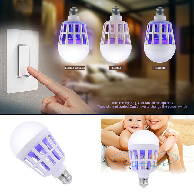 2 in 1 15W LED Bulb Mosquito Killer Lamp 220-240V Electric Trap Mosquito Killer Light for outdoor camping Night sleepping lamps 4