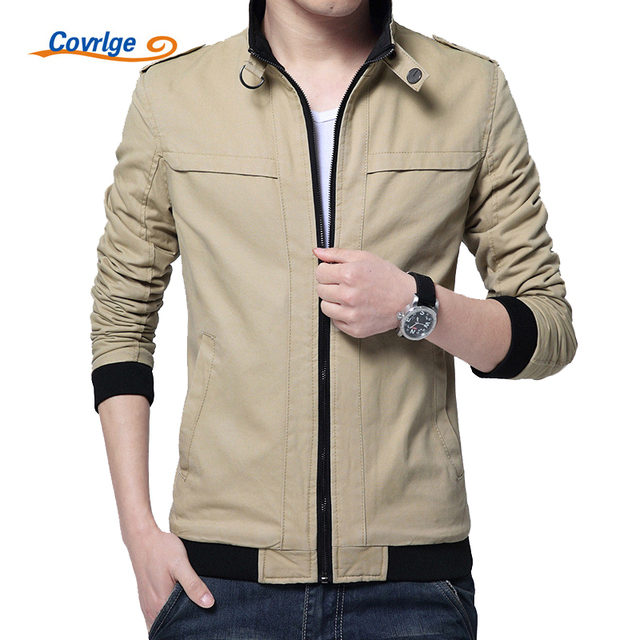 0574d719f94b Covrlge Jacket Men 2017 New Fashion Men s Stand Collar Jackets Solid Casual  Cotton Coat for Men Softshell Male Clothing MWJ064