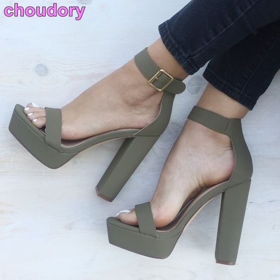 5cca17199 Young Girls  Street Shot Chic Chunky Heel Sandals Concise Design Single  Strap Gladiator Sandals Ankle Strap Platform Shoes US10