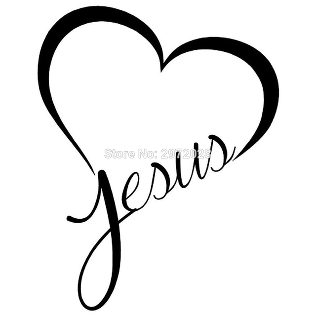 Newest design jesus heart reflective creative auto decal cartoon car sticker bumper body decal creative pattern