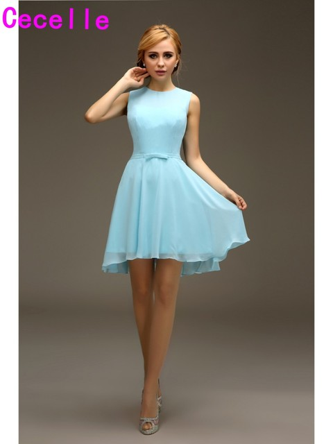 Short High Low Light Blue Bridesmaids Dresses Chiffon Sexy Open Back Beach Informal Summer Casual Wedding
