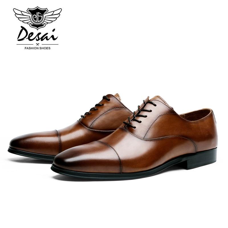f1719dca0c Lujo De Genuino Vaca brown Desai Zapatos Superior Hombres Calidad Formal  Punta Vestir Marca Los Black Oxfords Cuero ...